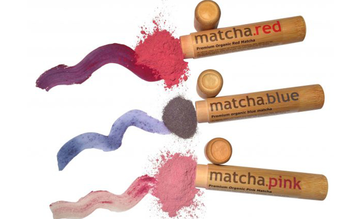 Blue, Red, Pink matcha tea