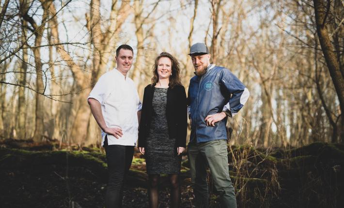 Chef Dennis Willems, sous-chef Damy Schreiner en gastvrouw Jenny Schreiner van Restaurant Morille