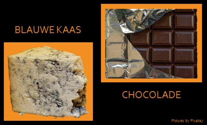 Chocolade en blauwe kaas