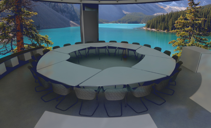 De Vergaderfabriek - Vergaderen met op de achtergrond projecties