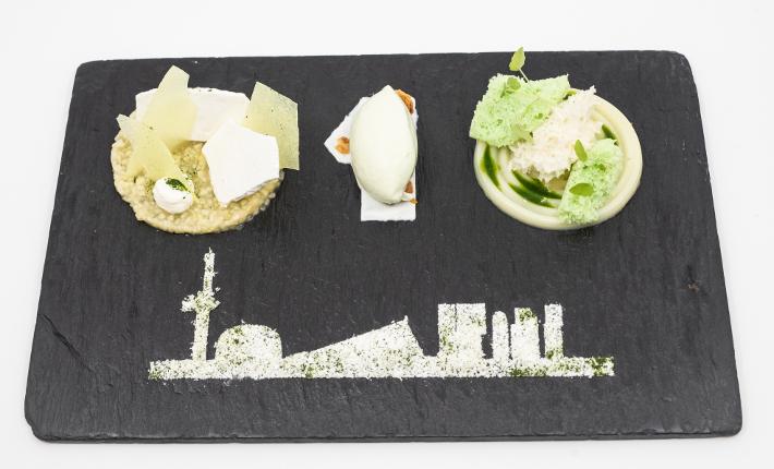 Dessert met skyline - Rotterdams menu voor 20-jarig jubileum van restaurant Zeezout