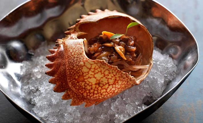 Dish from restaurant Maido - Sachapapa Soba, vongoles, crab