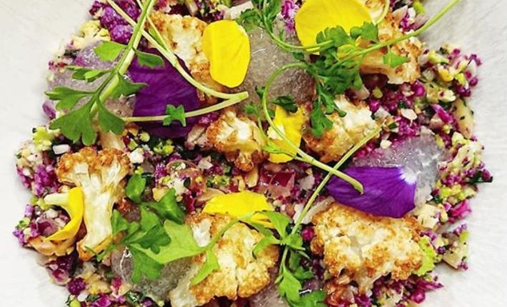 Multi-coloured cauliflower tabbouleh, ginger jelly, fried cauliflower, soy vinaigrette