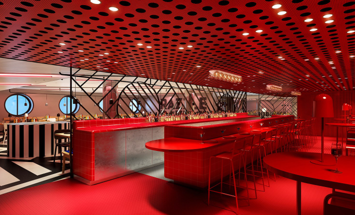 Restaurant Razzle Dazzle by concrete for cruise ship Virgin Voyages