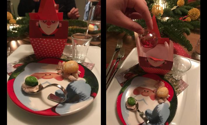 cocktail in een kerstbal serveren