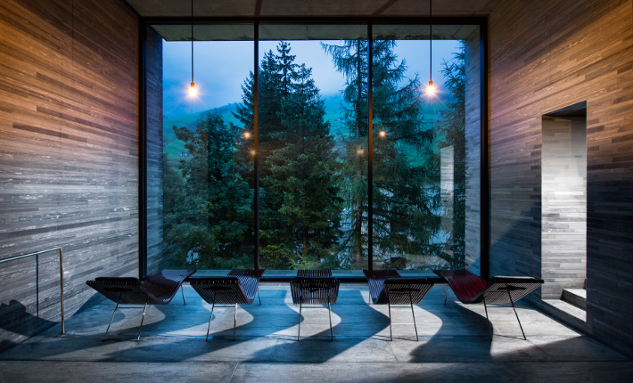 Relaxing room thermal baths designed by Peter Sumthor